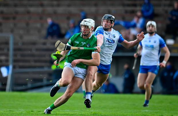 Kyle Hayes of Limerick in action against Larlaith Daly of Waterford during the Allianz Hurling League Division 1A clash
