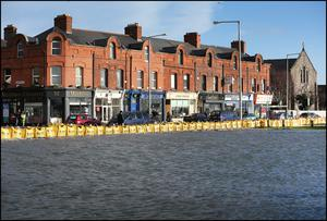 The sea encroaches on Clontarf village today. Picture: Steve Humphreys