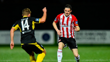 Ciaran Coll of Derry City in action against Mark Coyle of Finn Harps. Photo by Oliver McVeigh/Sportsfile