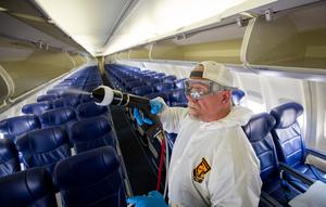 Southwest Airlines tests a new cleaning process during the Coronavirus outbreak. // Stephen M. Keller, 2020