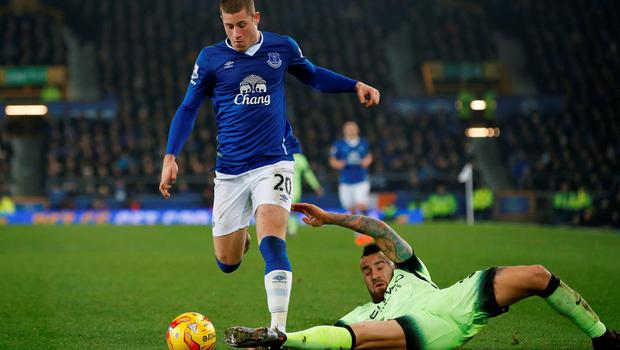 Everton's Ross Barkley in action with Manchester City's Nicolas Otamend. Photo: Andrew Yates/Reuters.