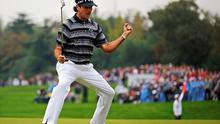 Bubba Watson of the U.S. celebrates after winning the the WGC-HSBC Champions golf tournament in Shanghai