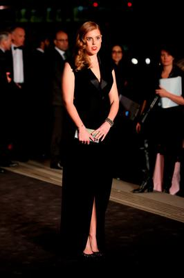 Princess Beatrice poses for photographers upon arrival at the Alexander McQueen Savage Beauty Gala exhibition