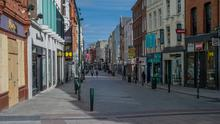 Economy in deep freeze: An empty Grafton Street in Dublin during the Covid-19 lockdown. Photo: Douglas O'Connor