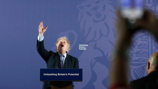 Looking up: Boris Johnson delivers a speech in Greenwich. Photo: Frank Augstein/PA