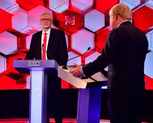 Labour leader Jeremy Corbyn and UK Prime Minister Boris Johnson in the BBC Election Debate Photo credit: Jeff Overs/BBC/PA Wire