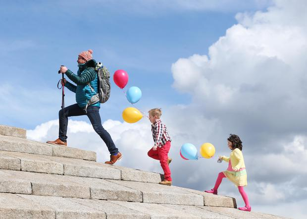 Pictured is Specsavers staff member Tony Power with Mia Coleman (5) from Baldoyle and Max Barrett (7) from Sutton officially launching Specsavers 'Climb for Crumlin' fundraising campaign.