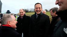 A BRIDGE TOO FAR:  Leo Varadkar (centre) and Labour leader Brendan Howlin (left) attend the opening of Ireland's longest bridge, in New Ross, Co. Wexford. Photo: Brian Lawless/PA Wire