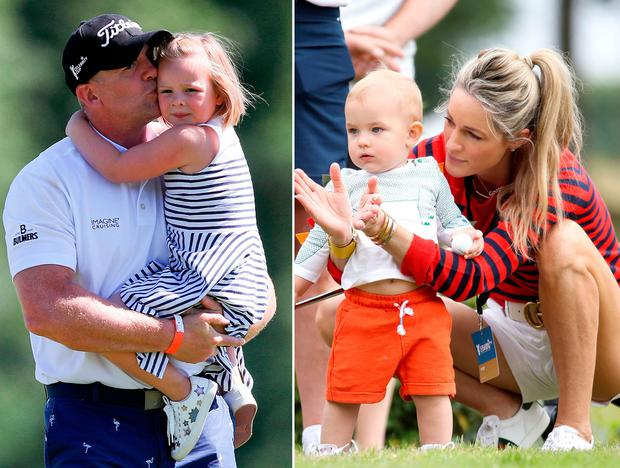 Mike Tindall with daughter Mia, left, and Storm Keating with son Cooper, right
