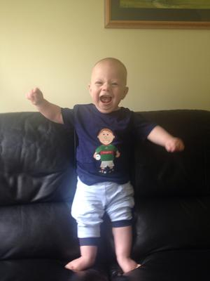 """We got this snap from Mary Blake in the UK """"Our grandson Michael Brendan shouting 'come on Mayo' in Bedfordshire. His grandad is from Kiltimagh!' Tweet us your pix via #IndoSubmit"""