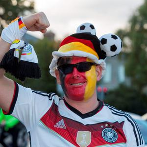 German fan Andre Weimforth on his way to the game. UEFA EURO 2016 Championship Qualifier, Group D, Republic of Ireland v Germany. Aviva Stadium, Lansdowne Road, Dublin.. 8/10/2015 Picture by Fergal Phillips