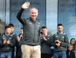 Dublin manager, Jim Gavin waves to the supporters at the homecoming. Picture: Damien Eagers