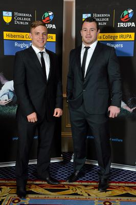 Leinster's Ian Madigan, left, and Cian Healy in attendance at the Hibernia College IRUPA Rugby Player Awards 2013. Burlington Hotel, Dublin. Picture credit: Brendan Moran / SPORTSFILE