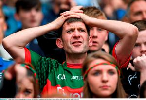30 August 2015; A Mayo fan late on in the game. GAA Football All-Ireland Senior Championship, Semi-Final, Dublin v Mayo, Croke Park, Dublin. Picture credit: Paul Mohan / SPORTSFILE