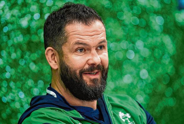 Andy Farrell addreses the media at Abbotstown, where he revealed he has been discussing plans with Johnny Sexton. Photo: Ramsey Cardy/Sportsfile