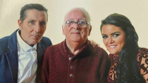 Aslan frontman Christy Dignam pictured with his late father, Christy Snr and his daughter Kiera