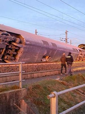 Police is seen at the scene where a high speed train travelling from Milan to Bologna derailed, in Lodi, Italy February 6, 2020. Polizia di Stato/Handout