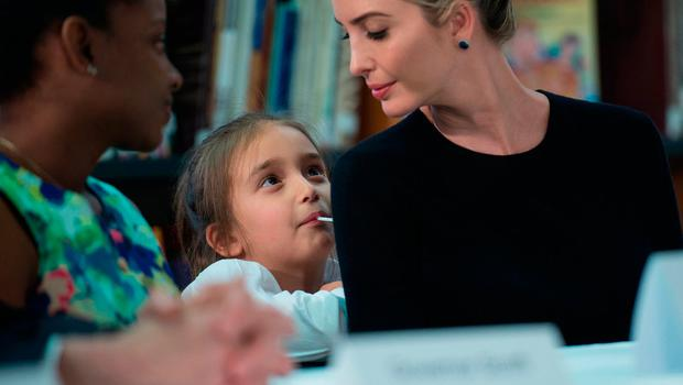 Ivanka Trump looks at her daughter Arabella as US President Donald Trump meets with parents and teachers at Saint Andrew Catholic School in Orlando, Florida, on March 3, 2017. / AFP PHOTO / NICHOLAS KAMMNICHOLAS KAMM/AFP/Getty Images