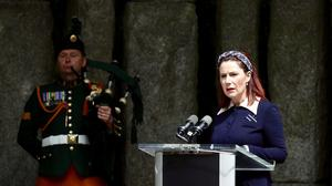 Spirit of caring: Josepha Madigan at the Great Famine commemoration ceremony in St Stephen's Green, Dublin yesterday