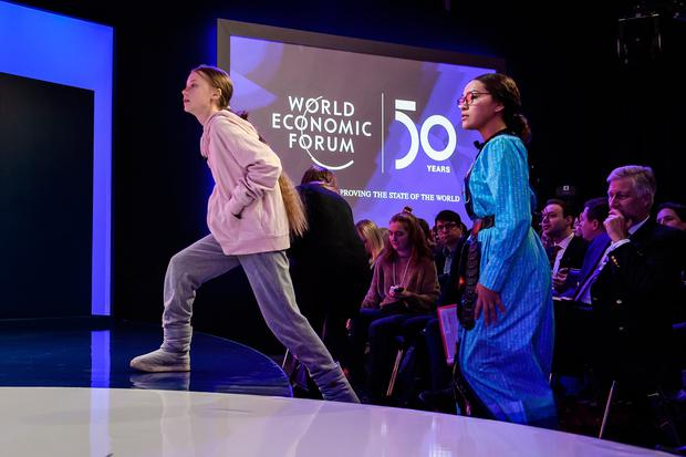 Being heard: Young climate activists Greta Thunberg (left) and Autumn Peltier arrive to speak at a World Economic Forum panel. Photo: FABRICE COFFRINI/AFP via Getty Images