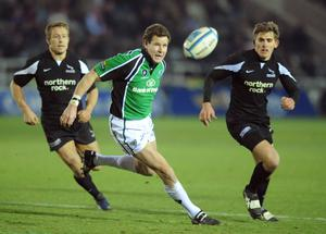 Matt Mostyn in action for Connacht against Jonny Wilkinson and Toby Flood, right, of Newcastle Falcons during a European Challenge Cup match at Kingston Park, Newcastle back in December 2007. Photo: Brendan Moran/Sportsfile