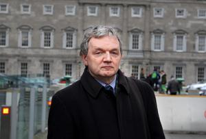 Ed Mulhall , former Head of News and Current Affairs at RTE , one of the  witnesses  arriving at the Oireachtas Banking Inquiry at Leinster House Pic Tom Burke 26/3/2015
