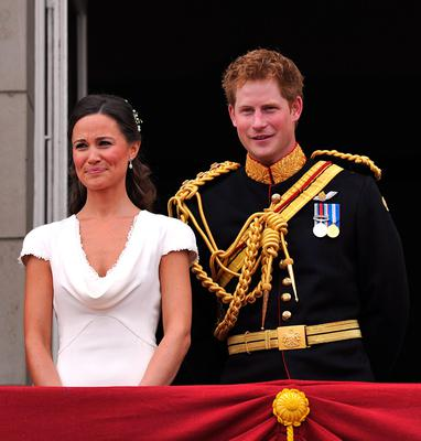 Best man Prince Harry and Maid of Honour Pippa Middleton on the balcony at Buckingham Palace after the Royal Wedding of Prince William to Catherine Middleton on April 29, 2011