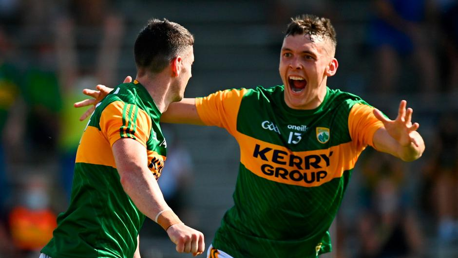 Paul Geaney of Kerry celebrates with team-mate David Clifford after their victory over Cork