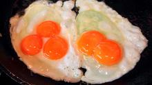 The Gloucester Old Spot Bristol served up a double yolker and a triple yolker. Photo: The Gloucester Old Spot Bristol/PA Wire