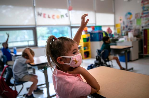Class act: Five-year-old Harper Shea during her first day of kindergarten in Stamford, Connecticut last week. Photo: Bloomberg