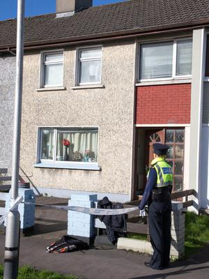 Gardai pictured at the scene of the death at Cardinal Cushing Park, Galway. Photo: Colin O'Riordan
