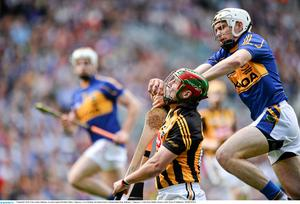 7 September 2014; Eoin Larkin, Kilkenny, in action against Brendan Maher, Tipperary. GAA Hurling All Ireland Senior Championship Final, Kilkenny v Tipperary. Croke Park, Dublin. Picture credit: Piaras Ó Mídheach / SPORTSFILE