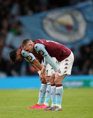 Aston Villa's Irish midfielder Conor Hourihane looks dejected after the Carabao Cup Final defeat to Manchester City at Wembley