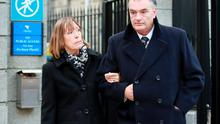 an Bailey and his partner, Jules Thomas (Left) pictured leaving the Four Courts yesterday (Wed) after Mr Bailey gave evidence in his High Court action for damages.Pic: Courts Collins