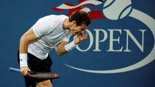 Andy Murray reacts after losing a point to Kevin Anderson, of South Africa, during the fourth round of the U.S. Open