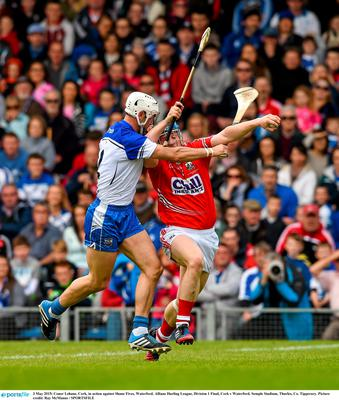 3 May 2015; Conor Lehane, Cork, in action against Shane Fives, Waterford. Allianz Hurling League, Division 1 Final, Cork v Waterford. Semple Stadium, Thurles, Co. Tipperary. Picture credit: Ray McManus / SPORTSFILE