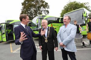 Lord Mayor of Dublin Christy Burke, Ryan Tubridy and John O'Sullivan (CEO of Dublin Coach) at the launch of Dublin Cityscape Luxury Sightseeing Tours.