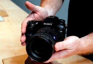 A Sony A99 II camera is displayed during a Sony news conference at the 2017 CES in Las Vegas, Nevada January 4, 2017. The 42 megapixel camera can take 12 frames per second and also takes 4K video.REUTERS/Steve Marcus