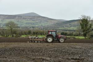 Ploughing ahead: With the fine weather on the way ploughing is top priority for many farmers. John Treacy is pictured here ploughing for David Ashmore of Knockullard, Corries, Co Carlow. Photo Roger Jones.
