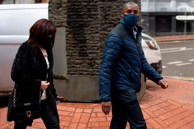 Kenroy Atkinson, the brother of former footballer Dalian Atkinson, arrives at Birmingham Crown Court where, PC Benjamin Monk is accused of the murder, and an alternative charge of manslaughter, of his brother. Jacob King/PA Wire