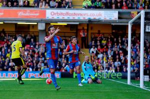 Crystal Palace's Yohan Cabaye celebrates scoring the winning goal from the penalty spot at Vicarage Road