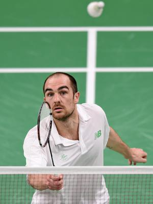 Scott Evans took a second win in his badminton qualifying group at the European Games