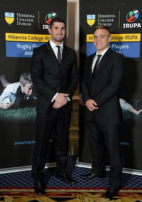 Leinster's Rob Kearney, left, and Ian Madigan in attendance at the Hibernia College IRUPA Rugby Player Awards 2013. Burlington Hotel, Dublin. Picture credit: Brendan Moran / SPORTSFILE