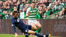 Celtic's James Forrest and Kilmarnock's Dario Del Fabro tussle during the Scottish Premiership match at Celtic Park