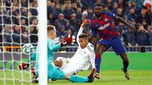Real Madrid's Mariano Diaz, pictured here scoring against in the La Liga win over Barcelona at the Bernabeu last January, has tested positive for Covid-19. Photo: Reuters/Juan Medina