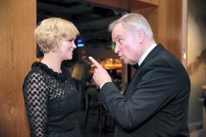 26/11/14 Jeffrey Archer with Cecelia Ahern at the Bord Gais Energy Irish Book Awards at the Double Tree by Hilton Hotel in Dublin. Picture:Arthur Carron
