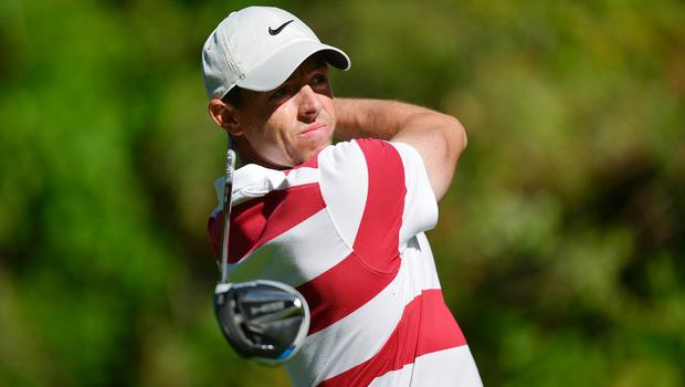 Rory McIlroy hits from the twelfth hole tee box