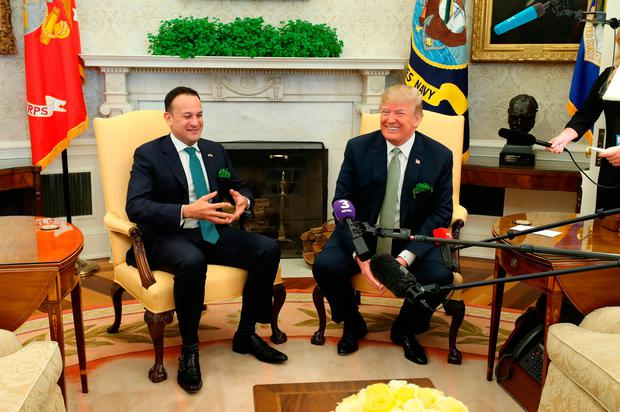 US President Donald Trump as he meets and Irish Taoiseach Leo Varadkar for talks in the Oval Office of the White House in Washington DC, USA. Niall Carson/PA Wire
