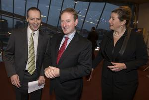 Taoiseach Enda Kenny pictured with Lord Livingston, UK Minister for Trade and Investment and Mary Rose Burke from IBEC at the IBEC CEO conference 2014 in the National conference centre, Dublin.