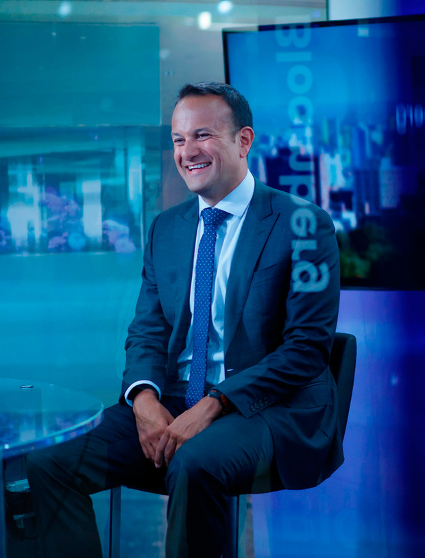 Taoiseach Leo Varadkar smiles during a Bloomberg TV interview in Ontario, Canada.